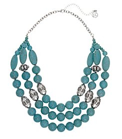 Erica Lyons Silvertone Simulated Turquoise Multi Strand Necklace