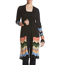 Relativity Multi Color Chevron Detail Duster Cardigan