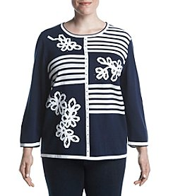Alfred Dunner Plus Size Blocked Stripe Sweater