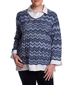 Alfred Dunner Plus Size Zig Zag Two For One Sweater