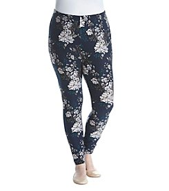 no comment Plus Size Wildflower Bloom Print Legging