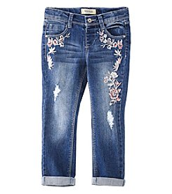 Squeeze Girls' 4-6x Floral Embroidered Skinny Jeans