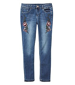 Blue Spice Girls' 7-14 Floral Embroidered Bootcut Jeans