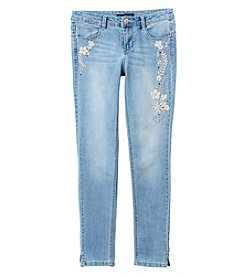 Blue Spice Girls' 7-14 Embroidered Floral Skinny Jeans