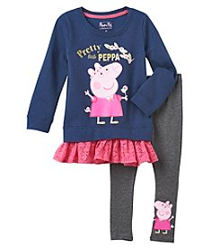 Peppa Pig Girls' 2T-6X 2 Piece Peppa Pig Top And Leggings Set