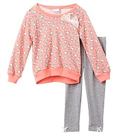 Nannette Girls' 2T-6X Animal Print Terry Top And Leggings Set