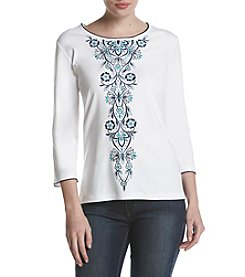 Alfred Dunner Center Multi Embroidery Top