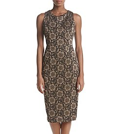 Ivanka Trump Metallic Floral Print Sheath Dress