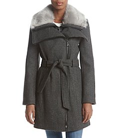 Calvin Klein Asymmetrical Coat with Double Fur Trimmed Collar & Belted Waist