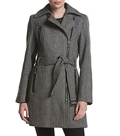 Calvin Klein Asymmetrical Zip Wool Walker Coat