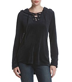 Max Studio Edit Lace Up Velour Tunic