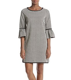 Max Studio Edit Flutter Sleeve Jacquard Dress