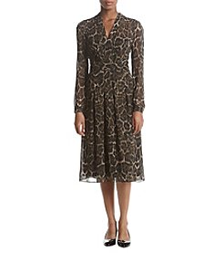 Anne Klein Animal Print Fit & Flare Dress