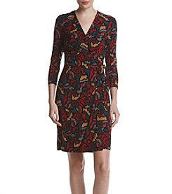Anne Klein Abstract Print Wrap Dress