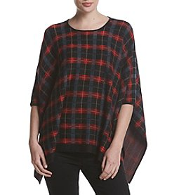 Anne Klein Plaid Pattern Poncho