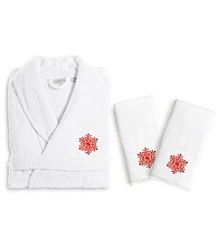 Linum Home Textiles Embroidered Luxury Hand Towels and Bathrobe Set