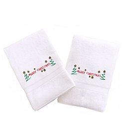 Linum Home Textiles Embroidered Set of 2 Merry Christmas Hand Towels