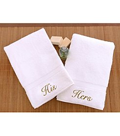 Linum Home Textiles Set of 2 His and Hers Gold Script Hand Towels