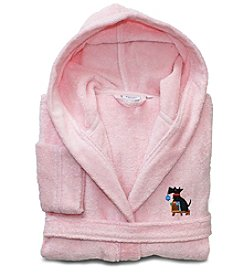 Linum Home Textiles Kids Embroidered Turkish Cotton Hooded Terry Bathrobe