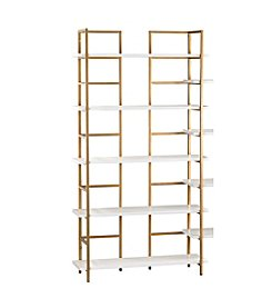 Sterling Kline White and Gold Shelving Unit
