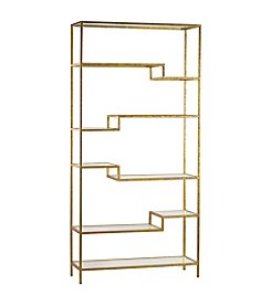 Sterling Gold and Mirrored Shelving Unit