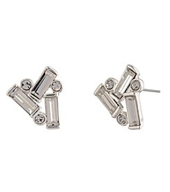Lauren Ralph Lauren Silver Crystal Cluster Post Earrings