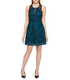GUESS Mesh Lace Faux Front Dress