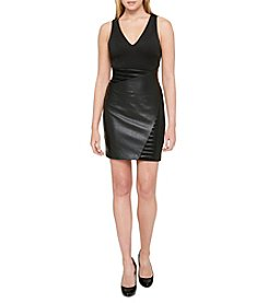 GUESS Faux Leather Scuba Dress