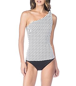 Lauren Ralph Lauren Stripe Pattern One Shoulder Tie Tankini Top