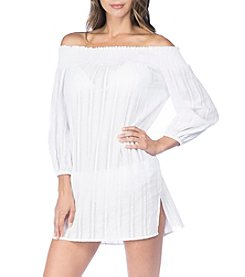 Lauren Ralph Lauren Smocked Off The Shoulder Tunic Cover Up