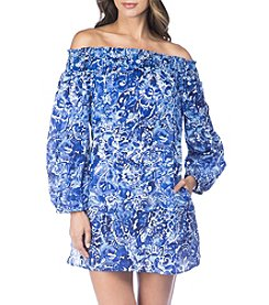 Lauren Ralph Lauren Blue Floral Print Smocked Off The Shoulder Dress