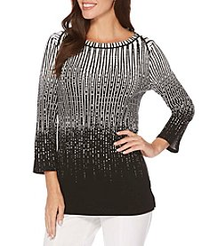 Rafaella Ombre Vertical Stripe Pattern Top