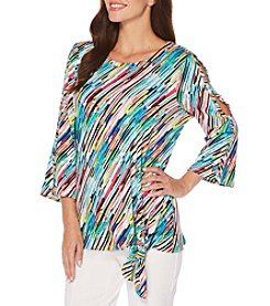 Rafaella Bluebird Diagonal Stripe Cold Shoulder Top