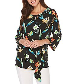 Rafaella Tossed Flowers Cold Shoulder Top