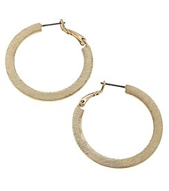Canvas Brushed Goldtone Hoop Earrings