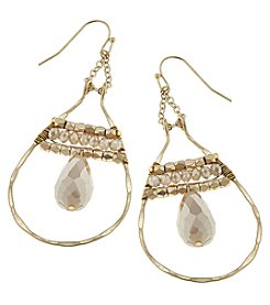 Canvas Goldtone Bead Teardrop Earrings