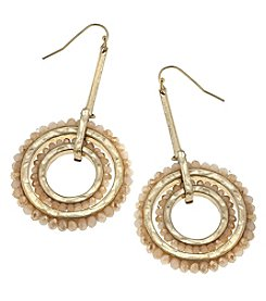 Canvas Goldtone Bead Wheel Drop Earrings