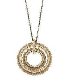 Canvas Goldtone Bead Wheel Necklace