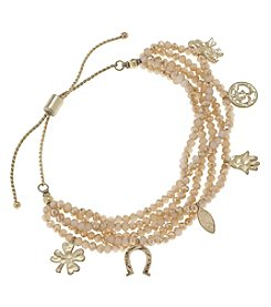 Canvas Goldtone Glass Charm Bracelet