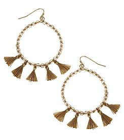 Canvas Goldtone Beaded Tassel Hoop Earrings