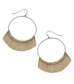 Canvas Two Tone Chain Fringe Hoop Earrings