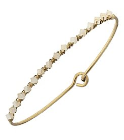 Canvas Goldtone Bead Bangle Bracelet
