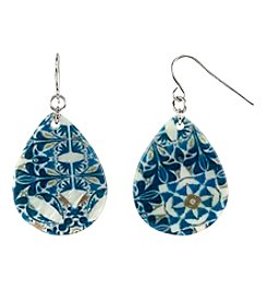 Studio Works Silvertone Printed Shell Teardrop Earrings