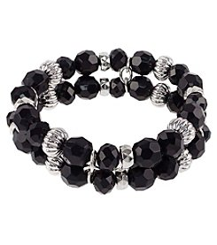 Studio Works Silvertone Beaded Stretch Bracelet