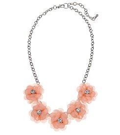 Studio Works Silvertone Flower Statement Necklace