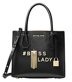 MICHAEL Michael Kors Mercer Boss Lady Perforated Leather Crossbody
