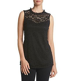 AGB Lace Mock Neck Tank Top