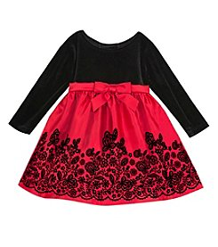 Rare Editions Baby Girls' 12M-24M Velvet Dress with Bow
