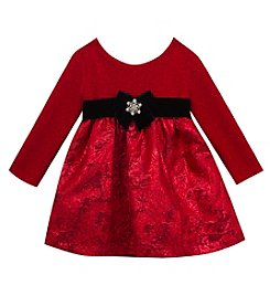 Rare Editions Baby Girls' 6M-24M Glitter and Brocade Dress