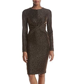 MICHAEL Michael Kors Petites' Twist Bodice Glitter Stripe Dress